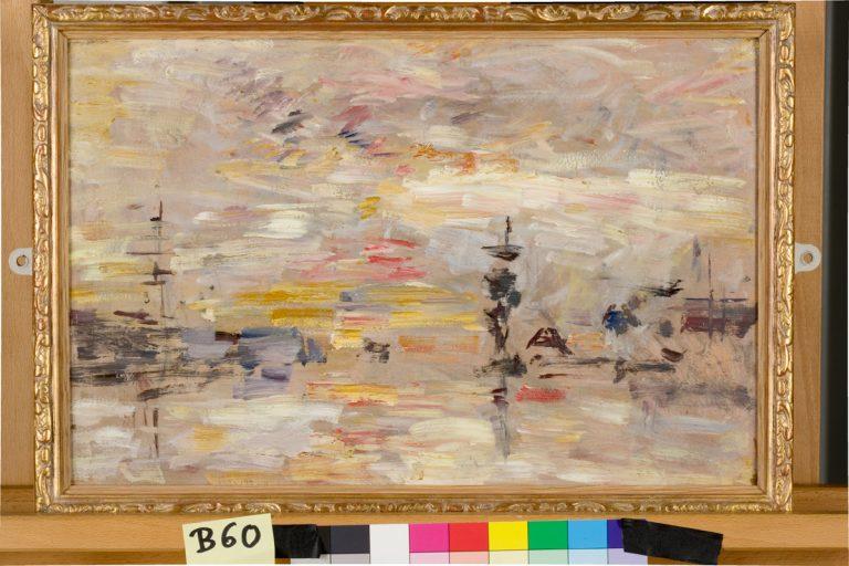 Étude de ciel sur le bassin du commerce du Havre - Tableau d'Eugène Boudin