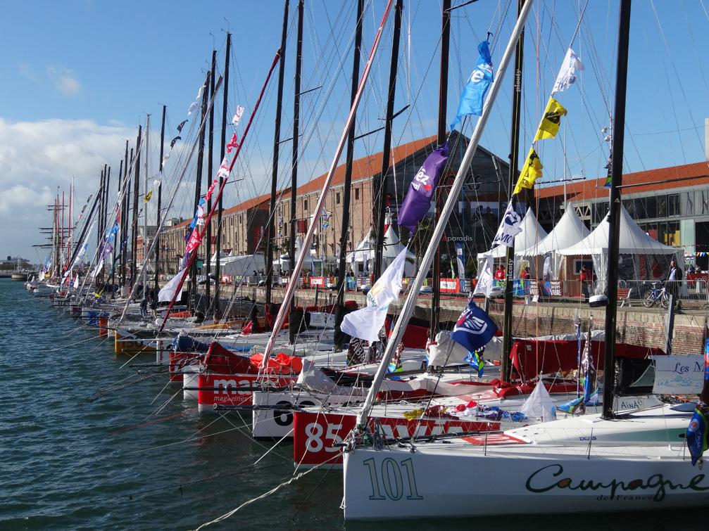 Vue rapprochée des voiliers de la Transat Jacques Vabre devant les Docks Vauban