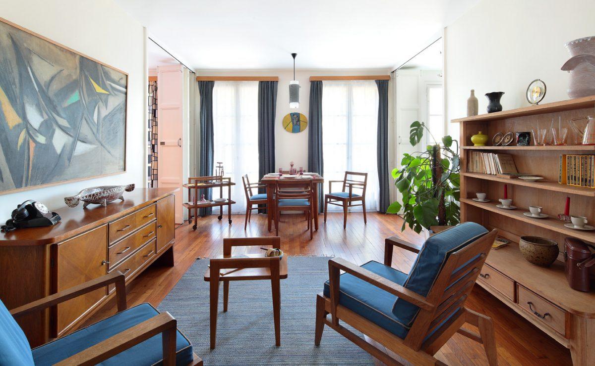 La pièce à vivre de l'appartement témoin Perret