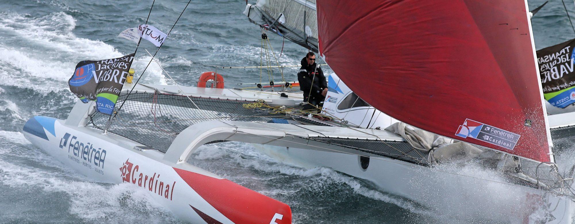 Équipage d'un voilier lors de la régate Transat Jacques Vabre