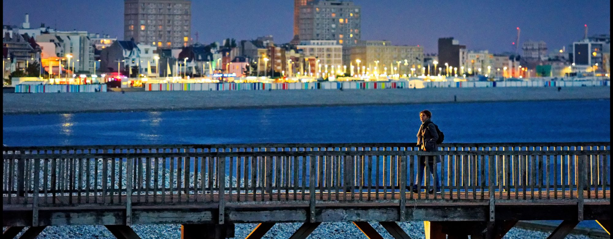 Vue sur l'estacade de Sainte-Adresse et la plage du Havre
